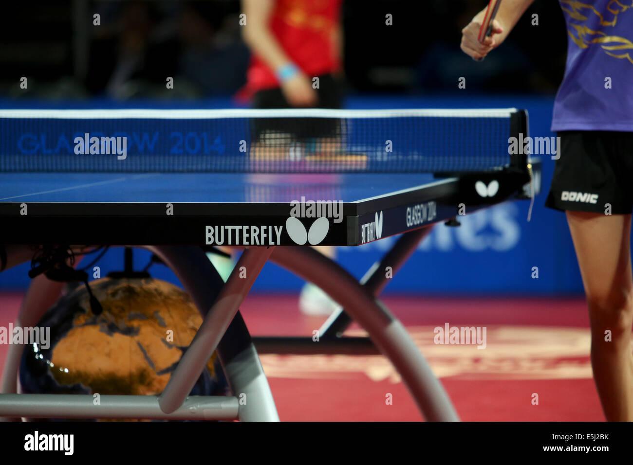 Glasgow, Scotland, Regno Unito. 1 agosto, 2014. Serata singles Ping Pong azione. Medal play off partite. Tianwei Immagini Stock