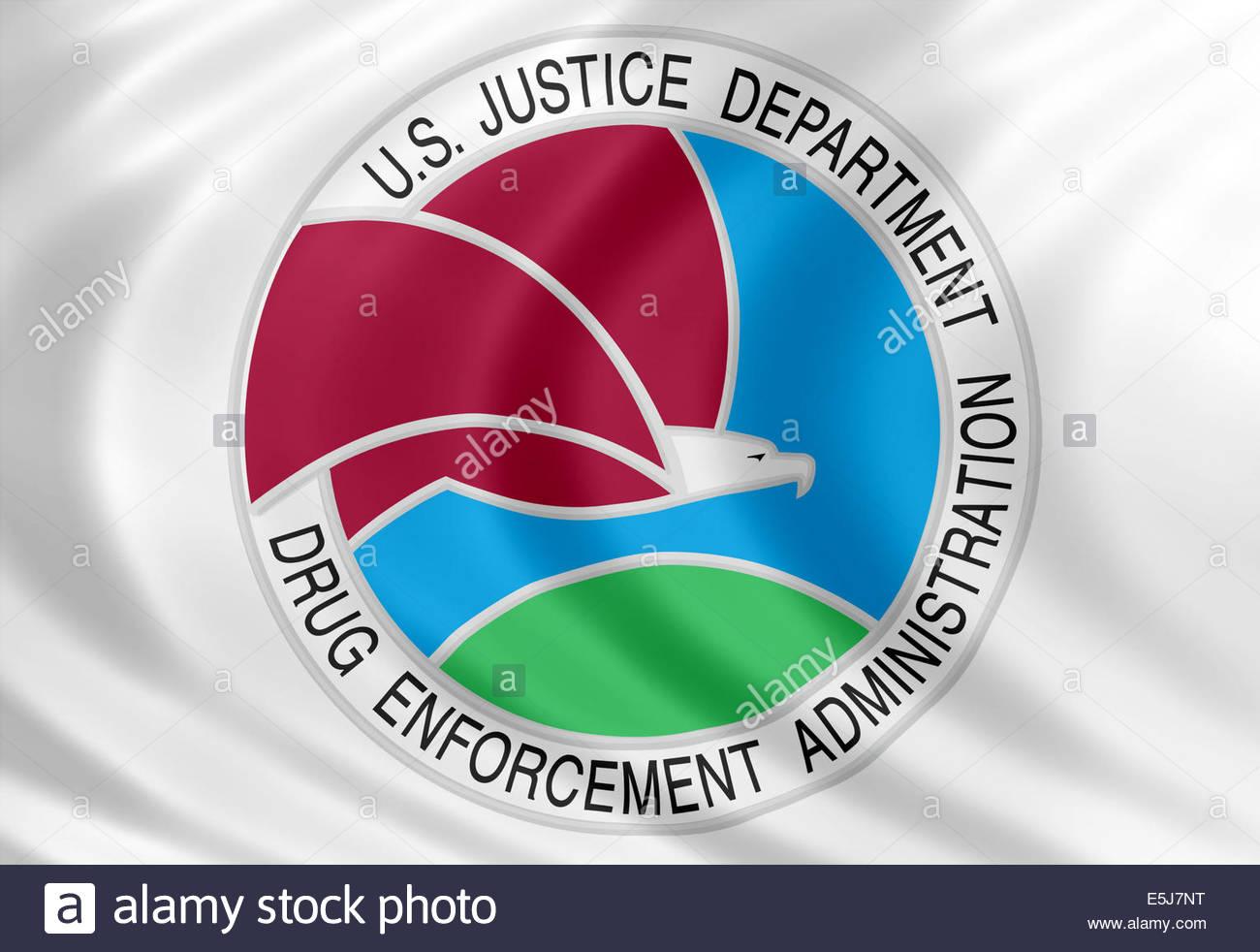 La Drug Enforcement Administration icona logo con la bandiera di seta Immagini Stock