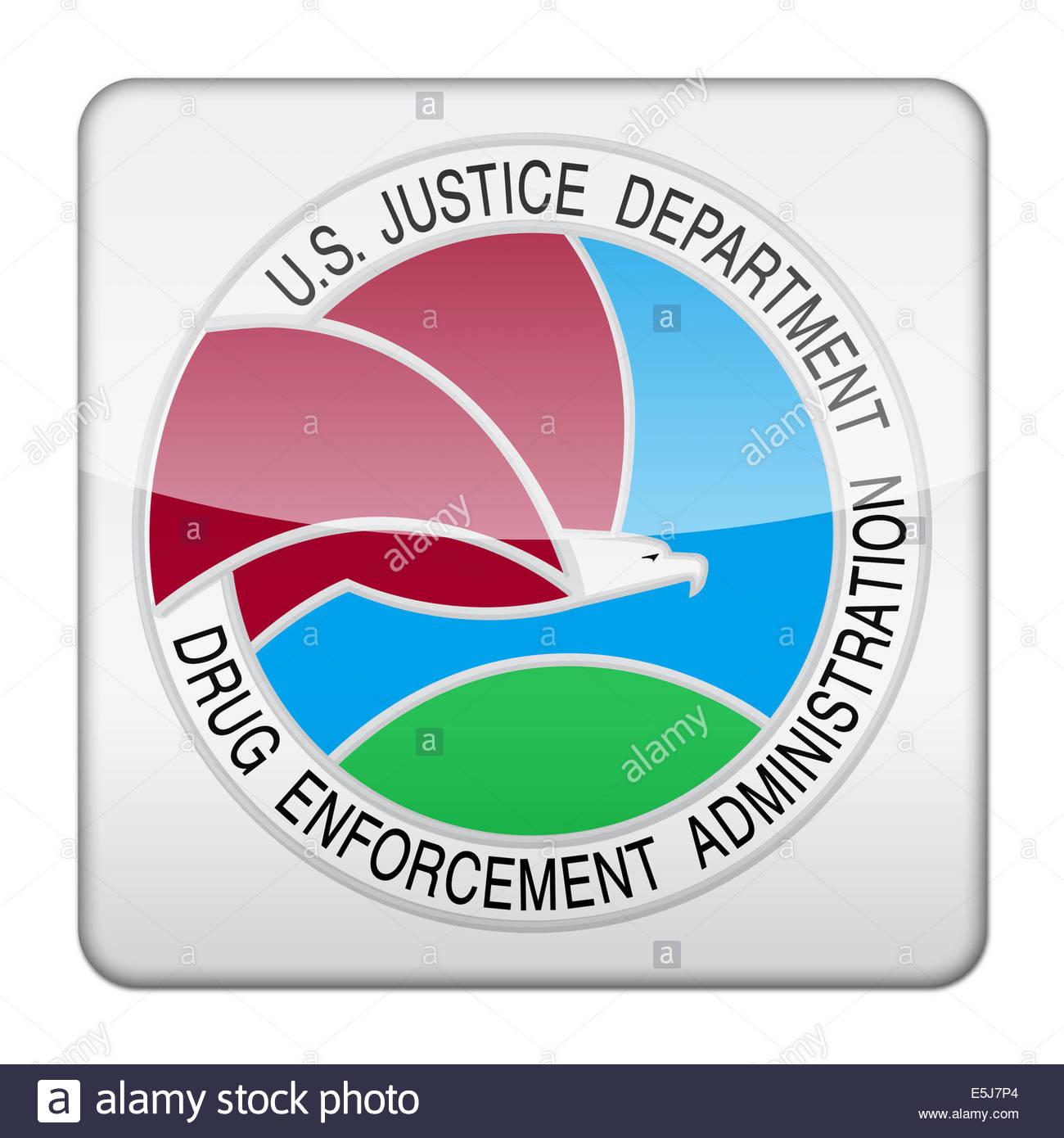 La Drug Enforcement Administration icona logo isolato pulsante app Immagini Stock