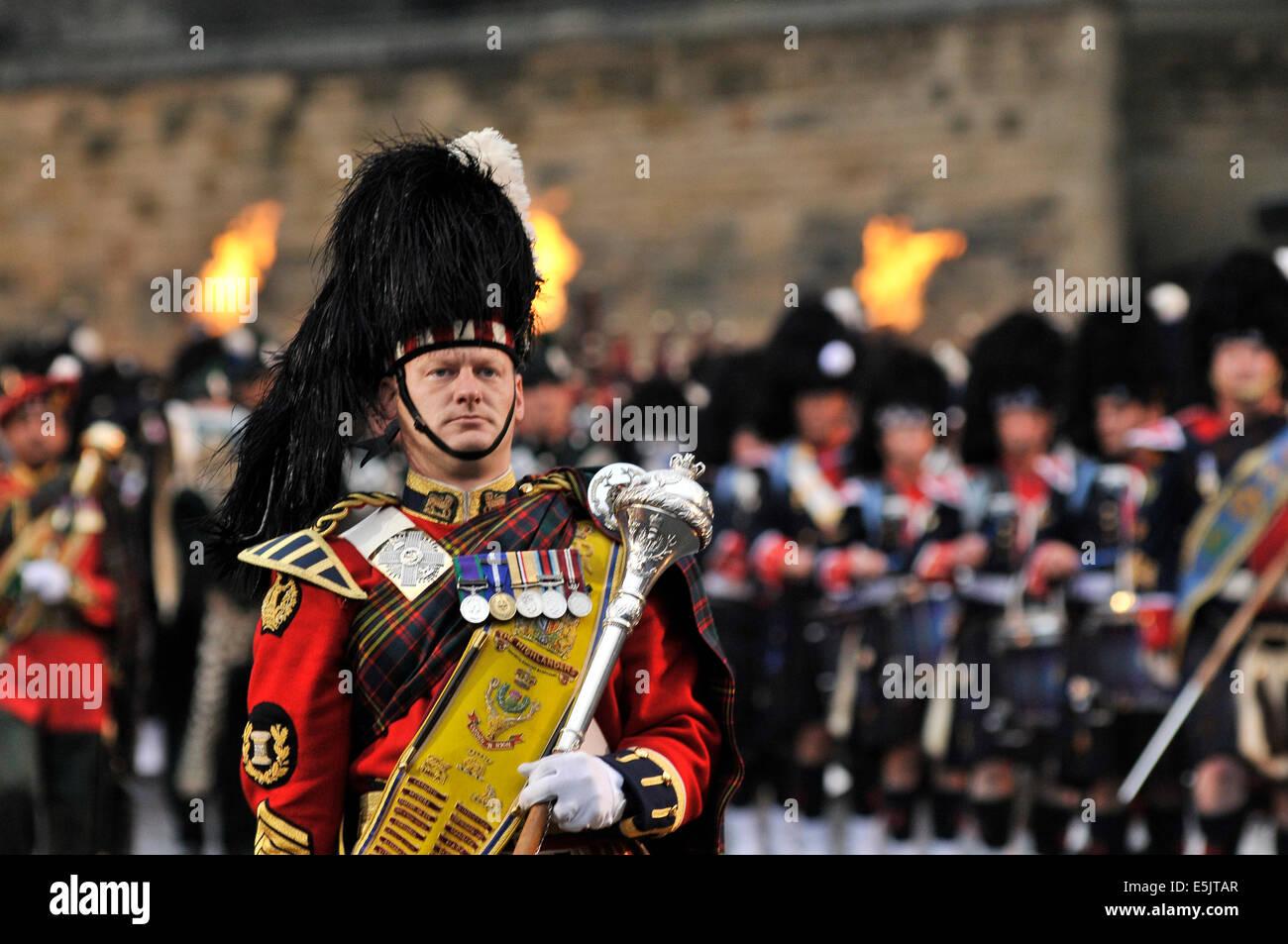 Edimburgo, Scozia, Regno Unito. Il 2 agosto 2014. Il Royal Edinburgh Tattoo militare avviene sulla spianata del Immagini Stock