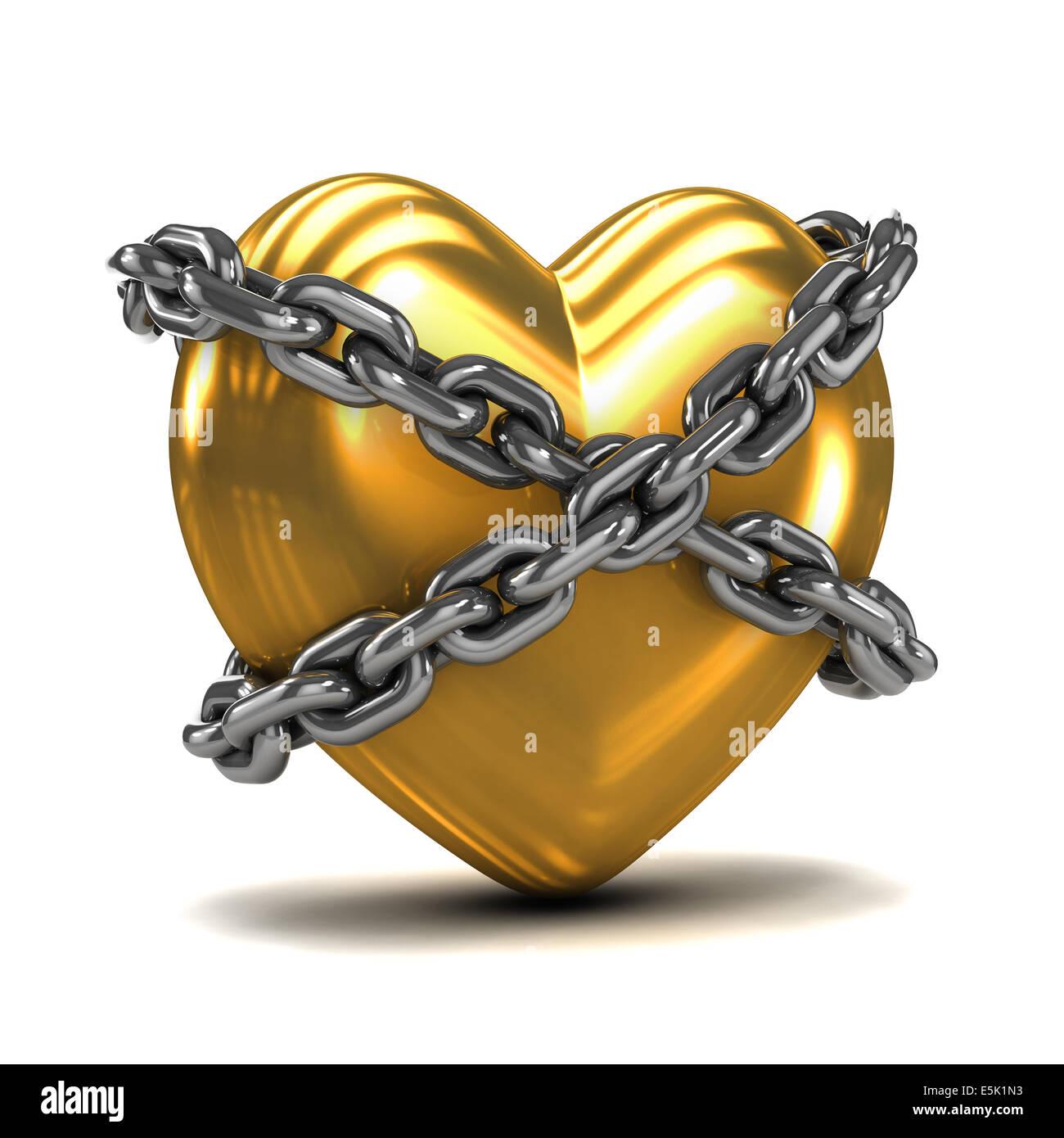 3D render di un cuore d'oro avvolto in catene Foto Stock