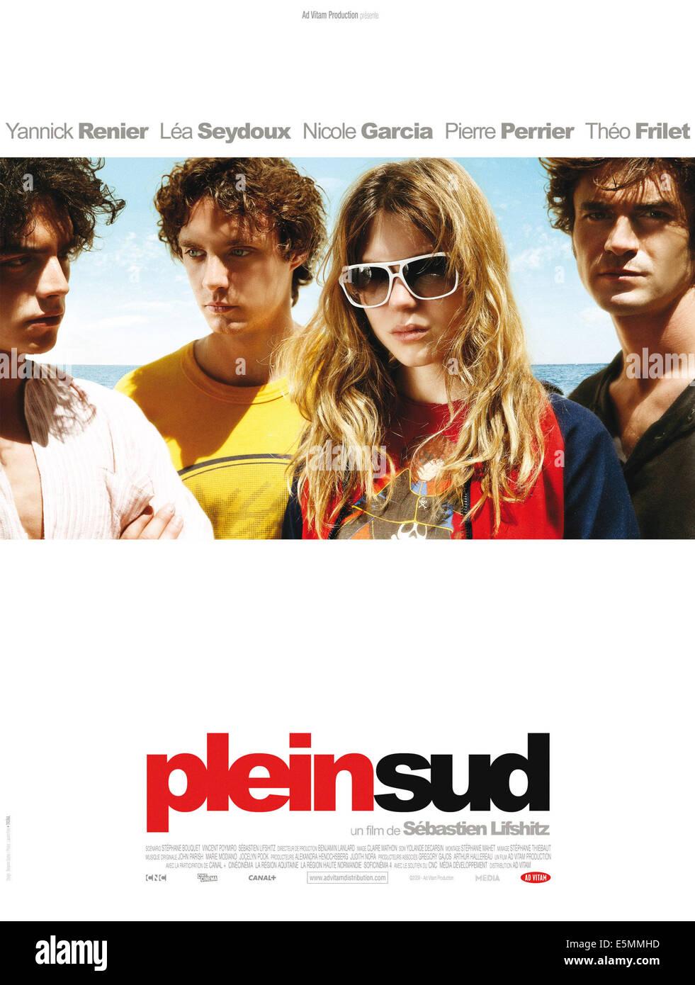 PLEIN SUD, poster francese arte, da sinistra: Pierre Perrier, Theo Frilet, Lea Seydoux, Yannick Renier, 2009. ©Ad Immagini Stock
