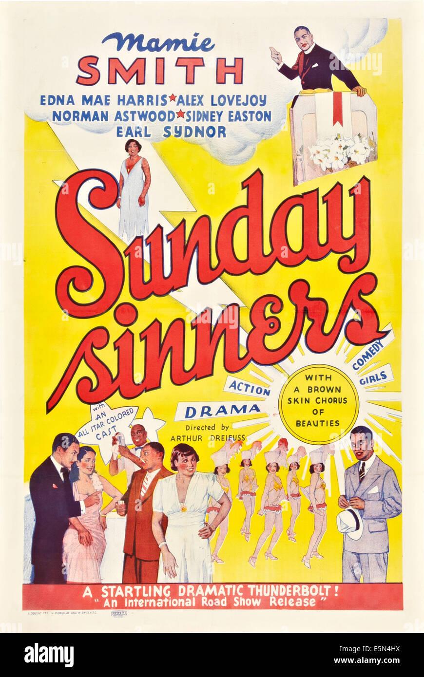Domenica i peccatori, locandina, 1940 Immagini Stock