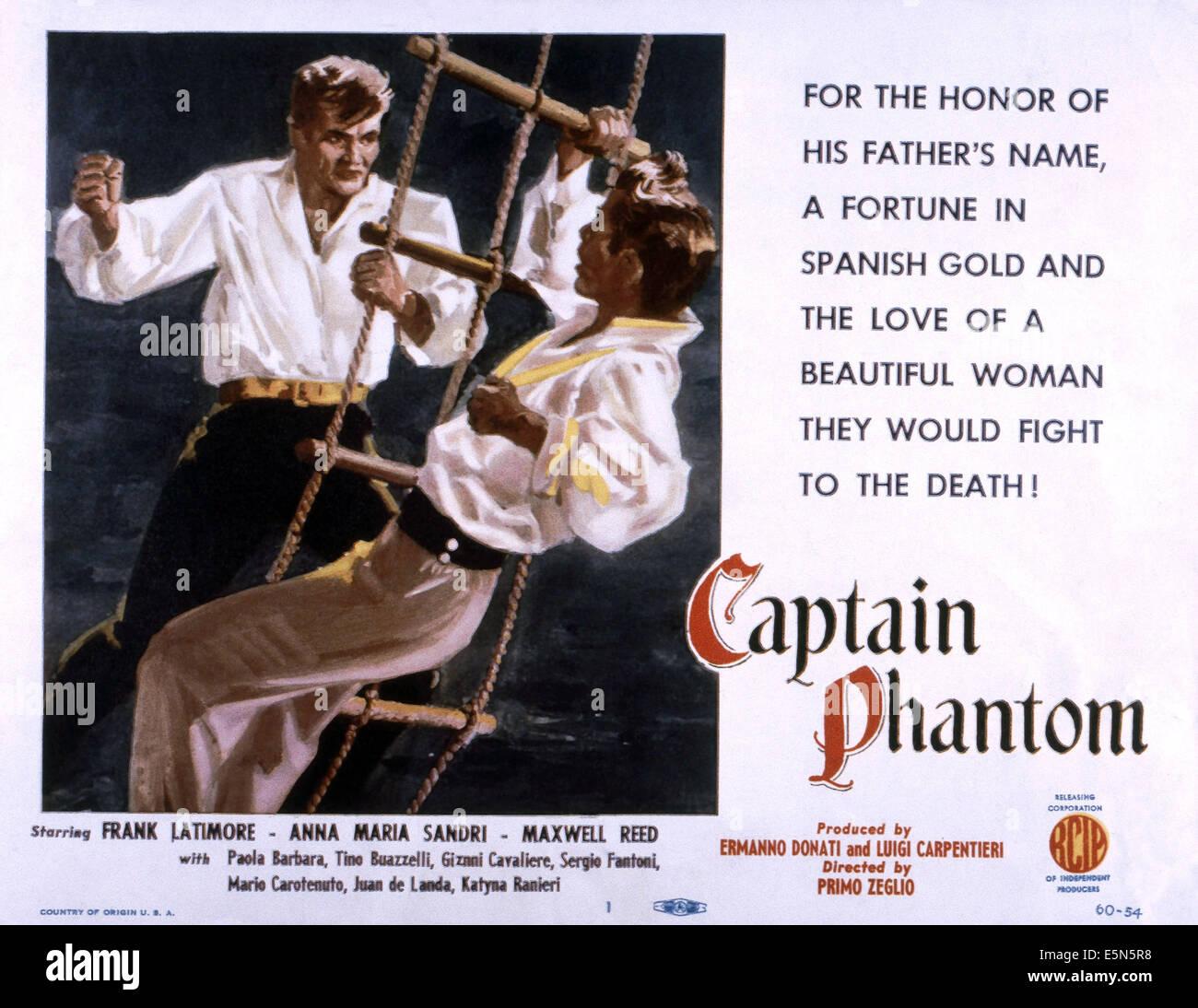 Il capitano PHANTOM, (aka CAPITAN FANTASMA), da sinistra: Frank Latimore, Maxwell Reed, 1953 Immagini Stock