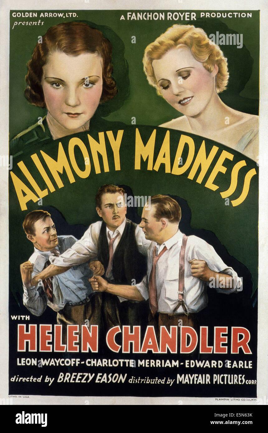 ALIMONY follia, in alto da sinistra: Helen Chandler, Charlotte Merriam, Leon Waycoff (aka Leon Ames) (centro inferiore), Immagini Stock