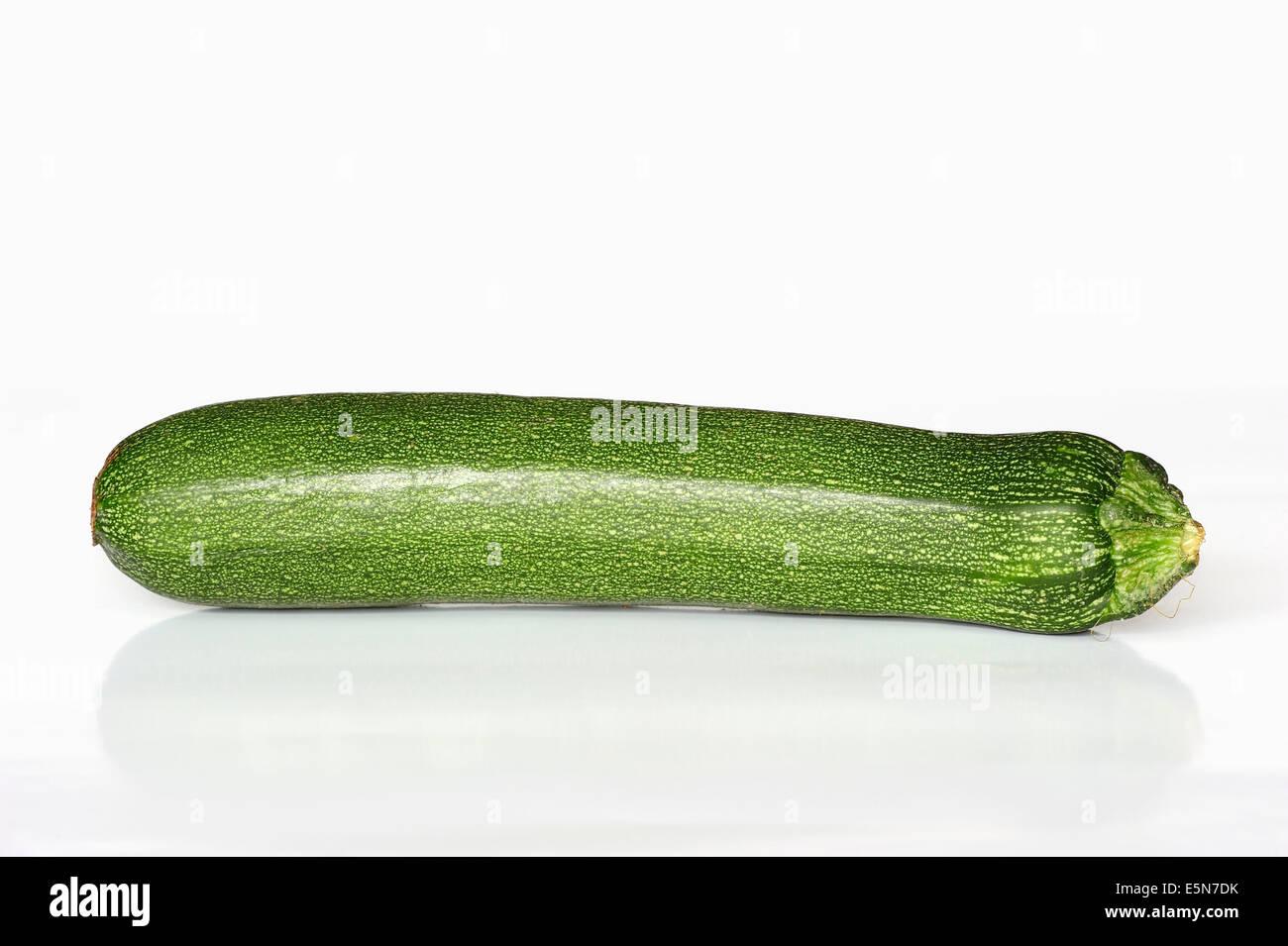 La zucchina (Cucurbita pepo var. giromontiina, Cucurbita pepo ssp. pepo convar giromontiina) Immagini Stock