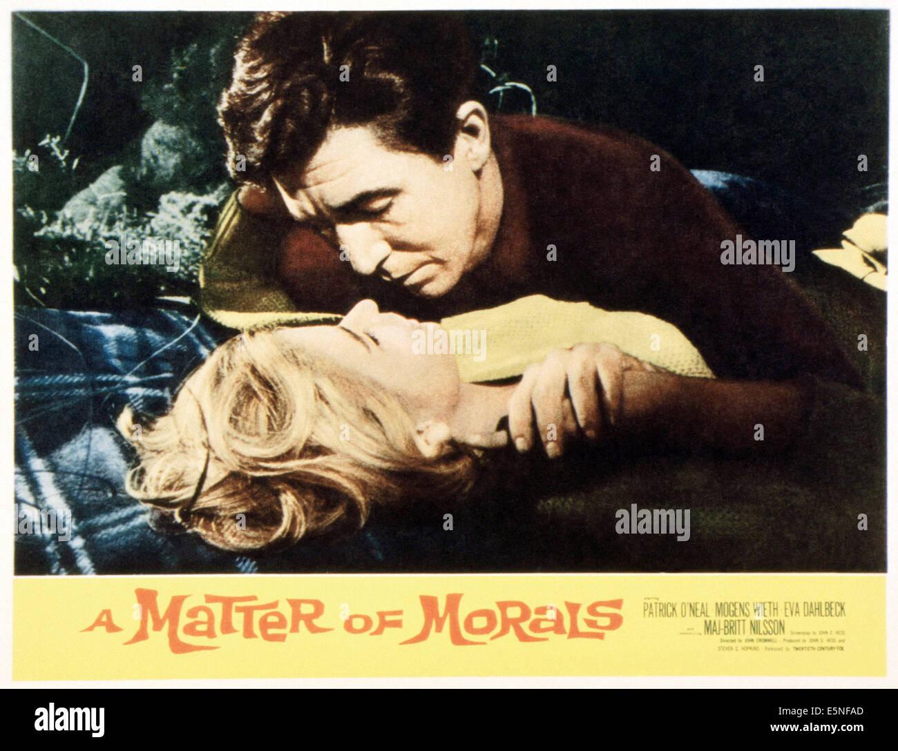 Una questione di morale, Maj-Britt Nilsson (fondo), Patrick O'Neal, 1961 Immagini Stock