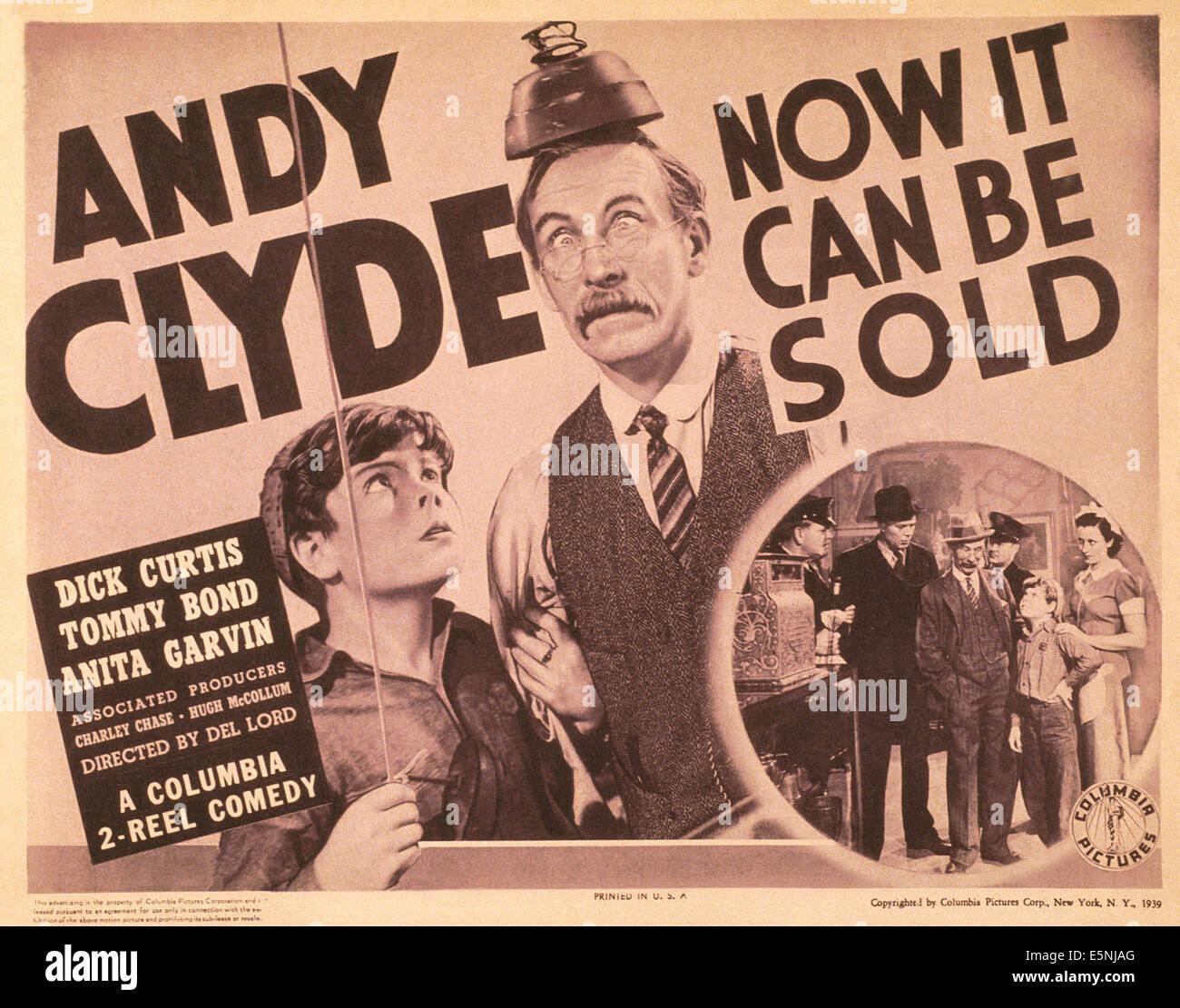 Ora può essere venduto, noi poster, da sinistra: Tommy Bond, Andy Clyde, 1939 Immagini Stock