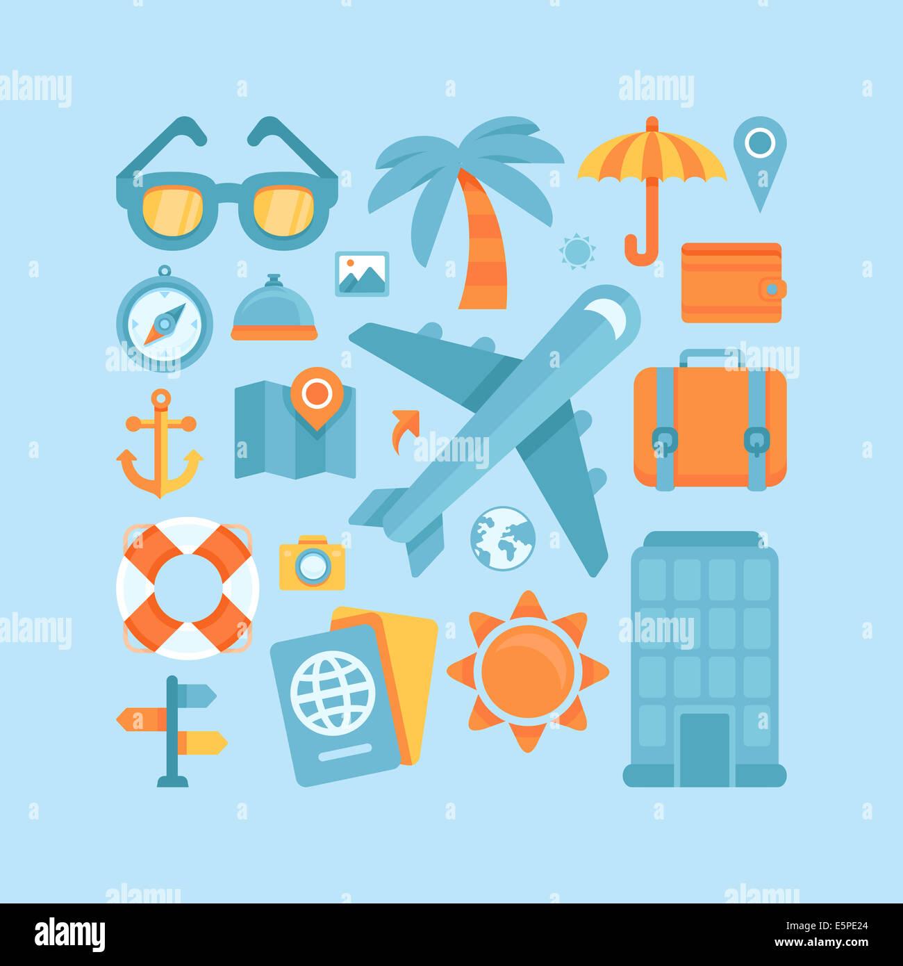 Le icone e i concetti in uno stile piatto - viaggi e vacanze, Trendy striscioni e cartelli - estate e viaggio Immagini Stock