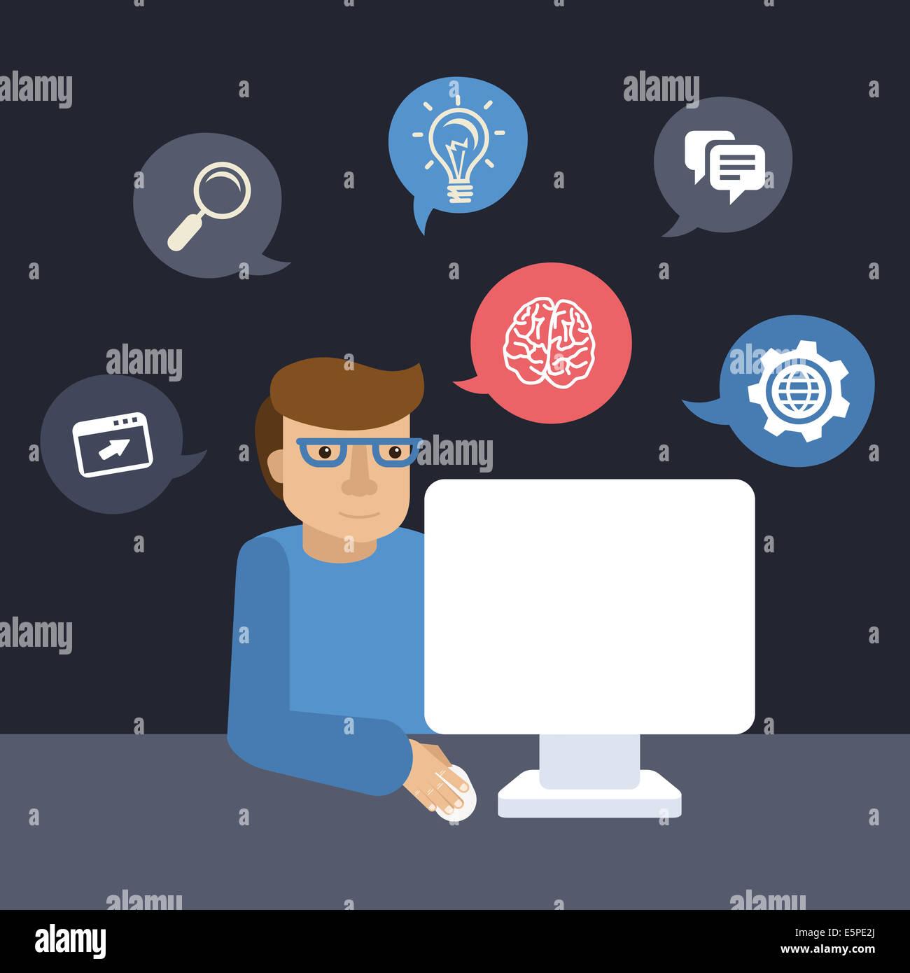 Programmatore di Cartoon al lavoro sul suo computer in uno stile piatto Immagini Stock