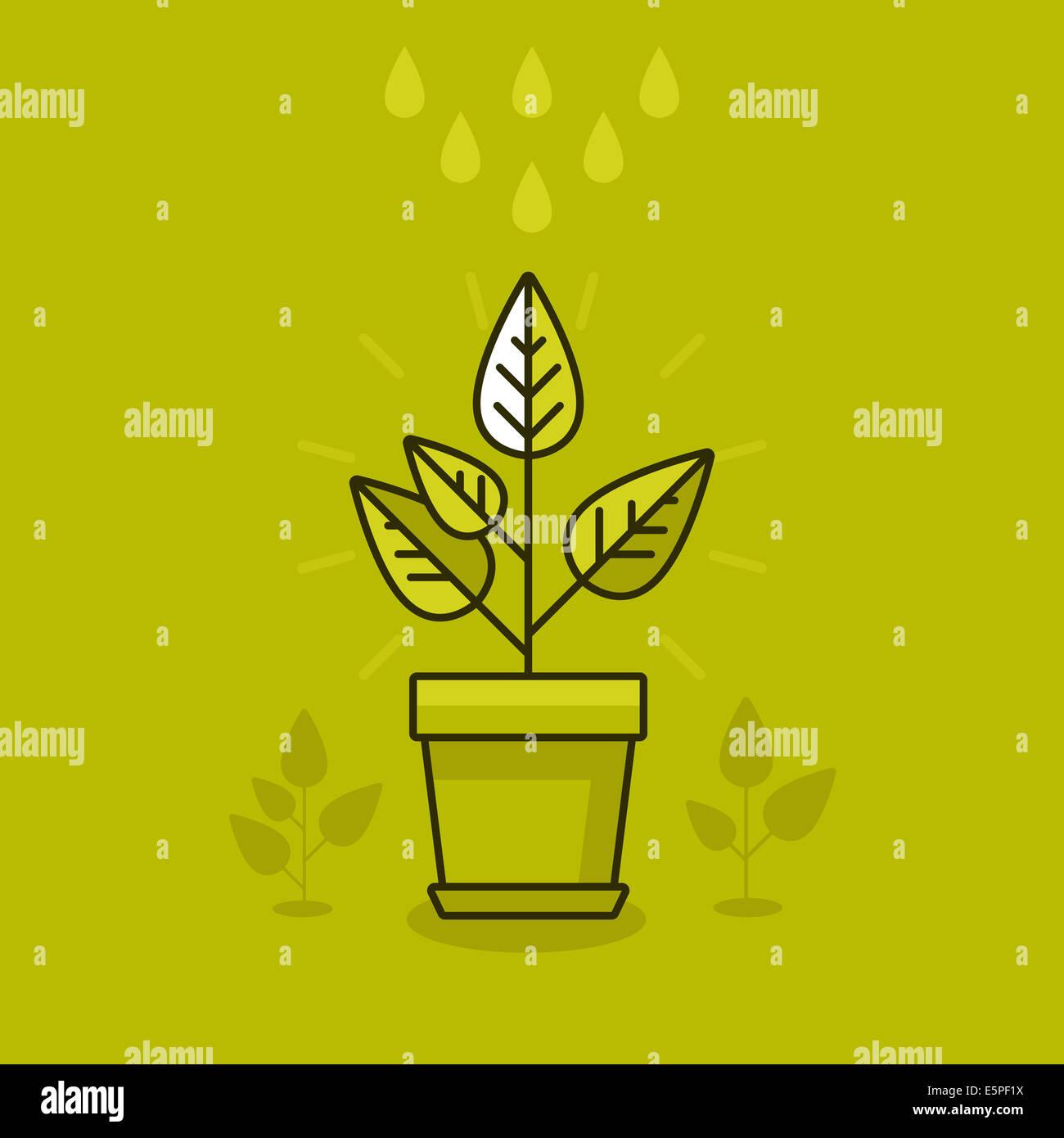Abstract il concetto di crescita - nuovo impianto in pentola - icona in stile piatto Immagini Stock