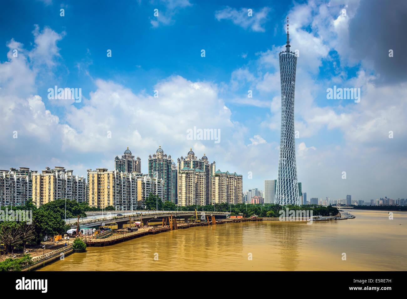 Guangzhou - Cina lo skyline della citta'. Immagini Stock