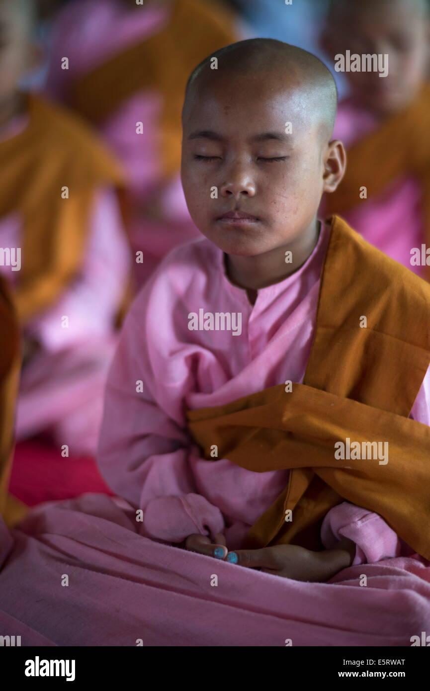 Il debuttante monache nella classe di meditazione, Taungpulu Monastero, Mindat, Stato Chin Stato, Myanmar. Abbott: Immagini Stock