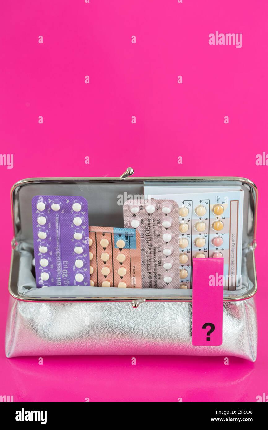 Le pillole contraccettive concetto. Immagini Stock