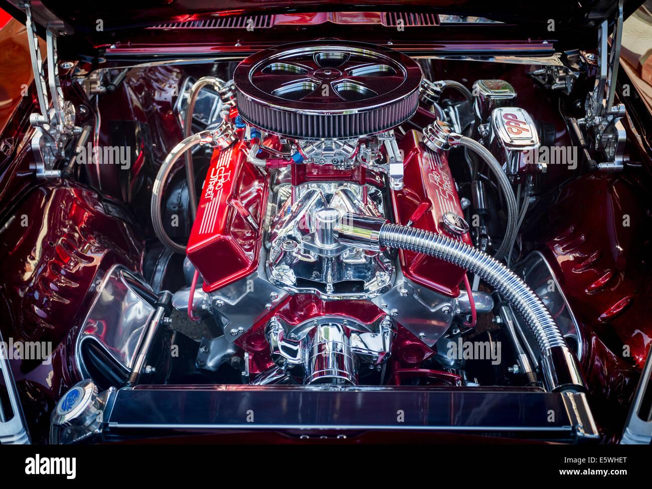 Auto vano motore di antichi Chevrolet Camaro, STATI UNITI D'AMERICA Immagini Stock