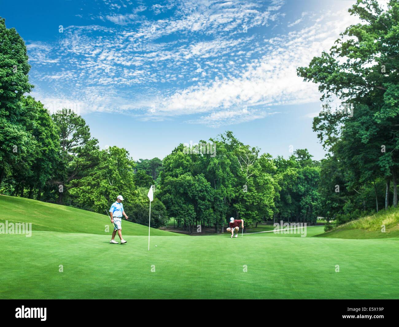 Due giovani golfisti maschio competere sul golf green, Apex, North Carolina, STATI UNITI D'AMERICA Immagini Stock