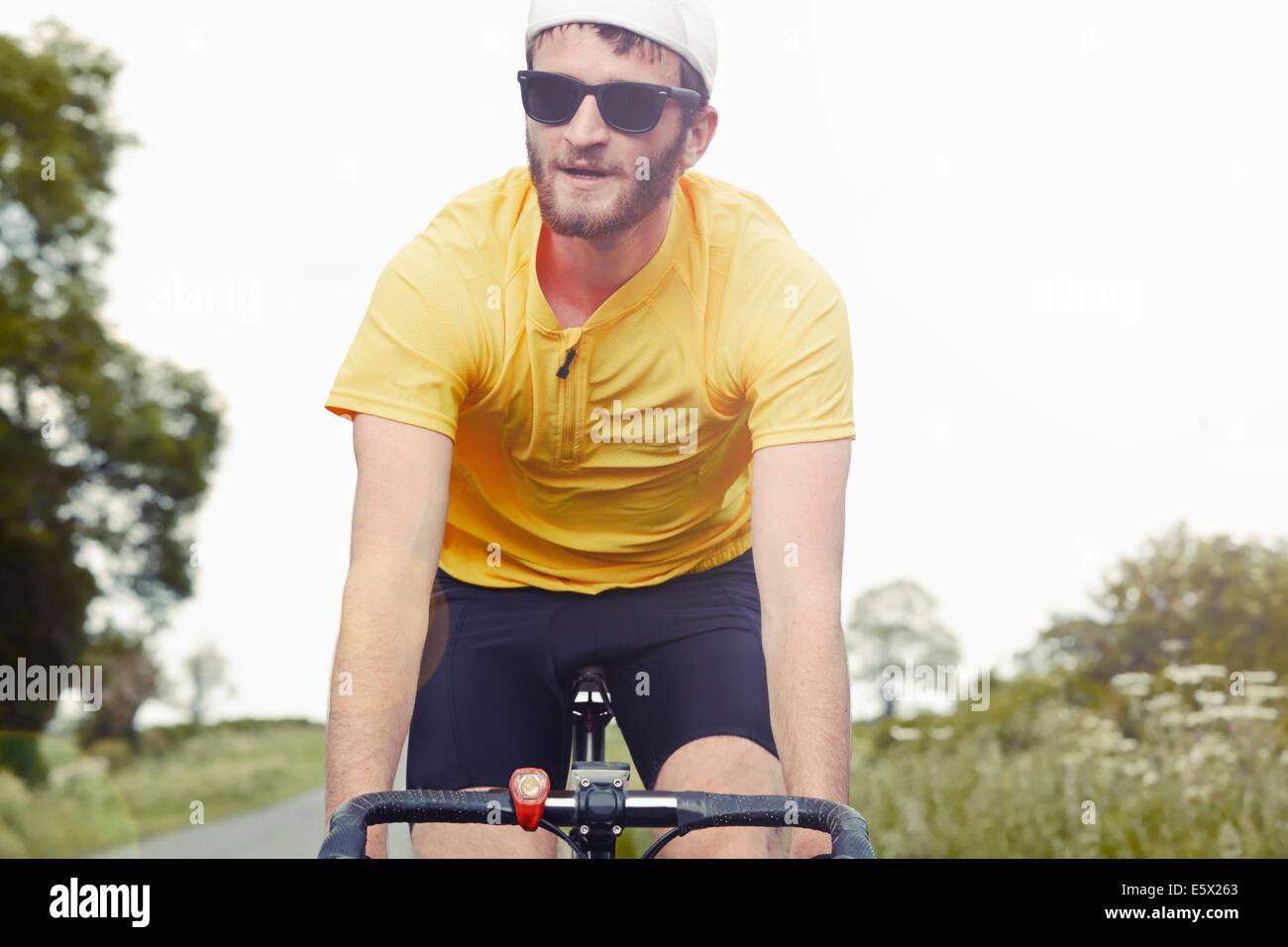 Ciclista sulla sua moto Immagini Stock