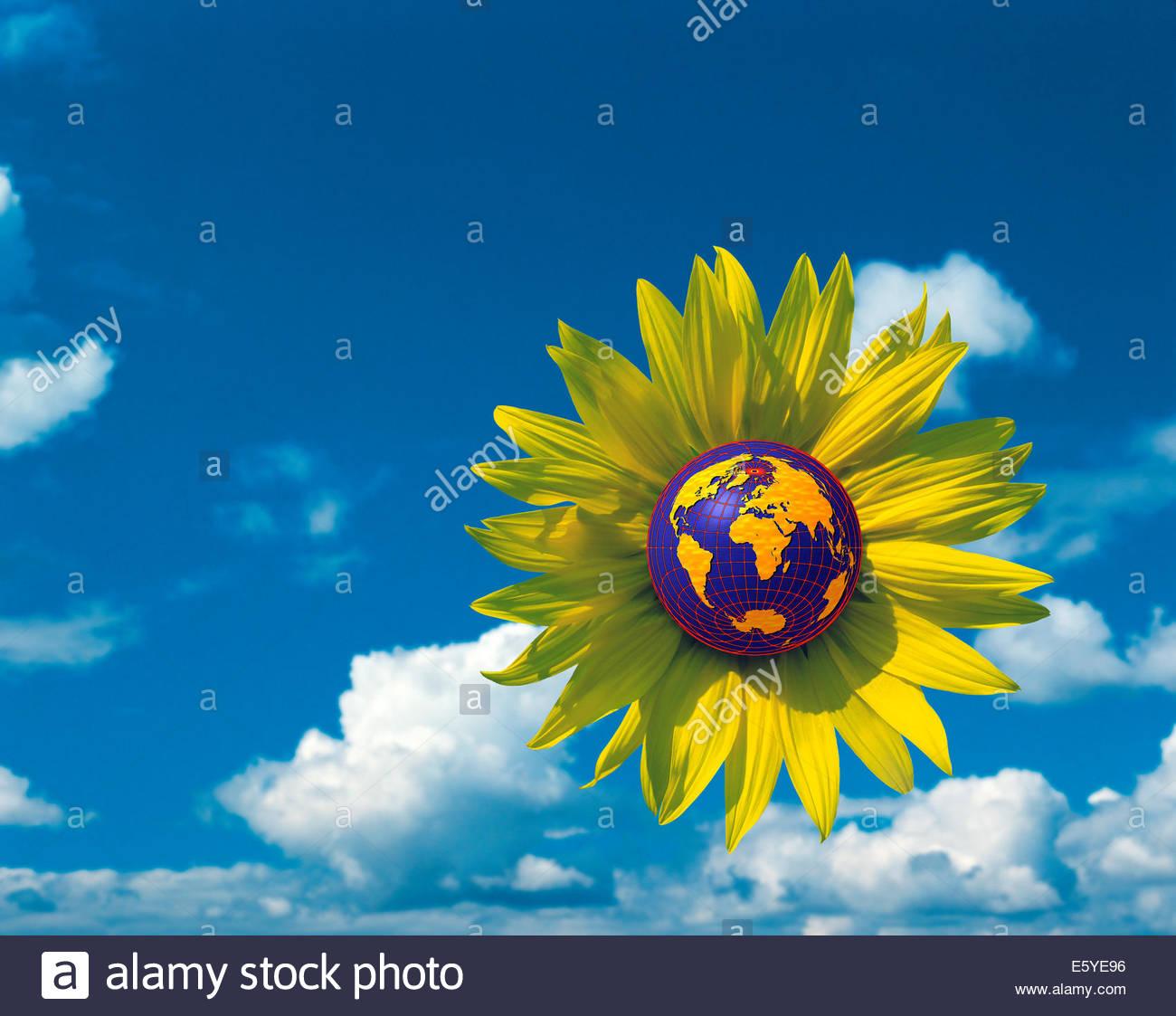 Illustrazione della terra protetto dalla natura sulla giornata della terra. Immagini Stock