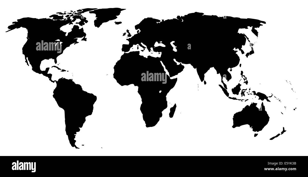 Cartina Mondo In Bianco E Nero.Una Mappa Del Mondo In Bianco E Nero Foto Stock Alamy
