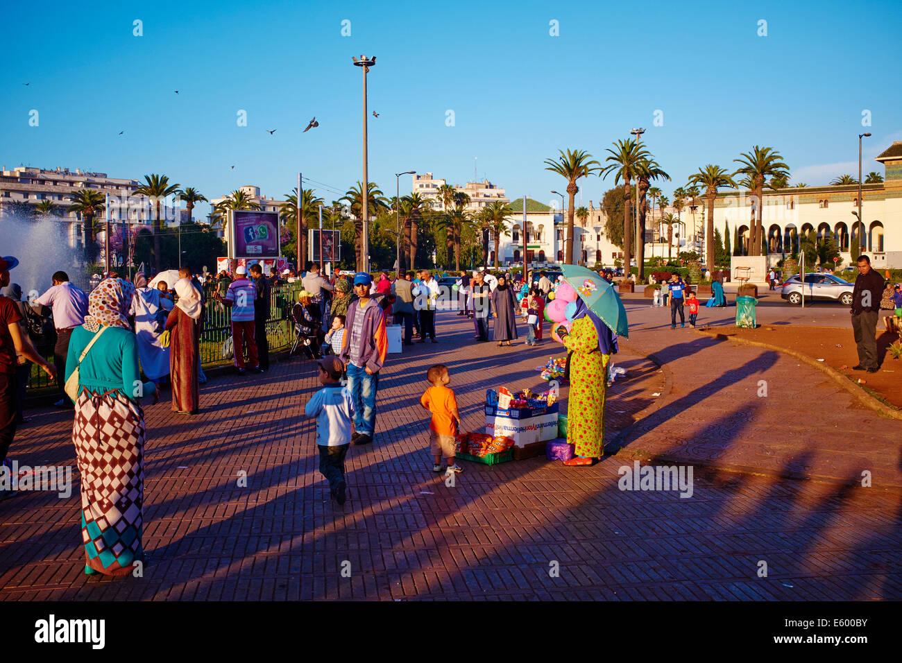 Il Marocco, Casablanca Mohammed V square Immagini Stock