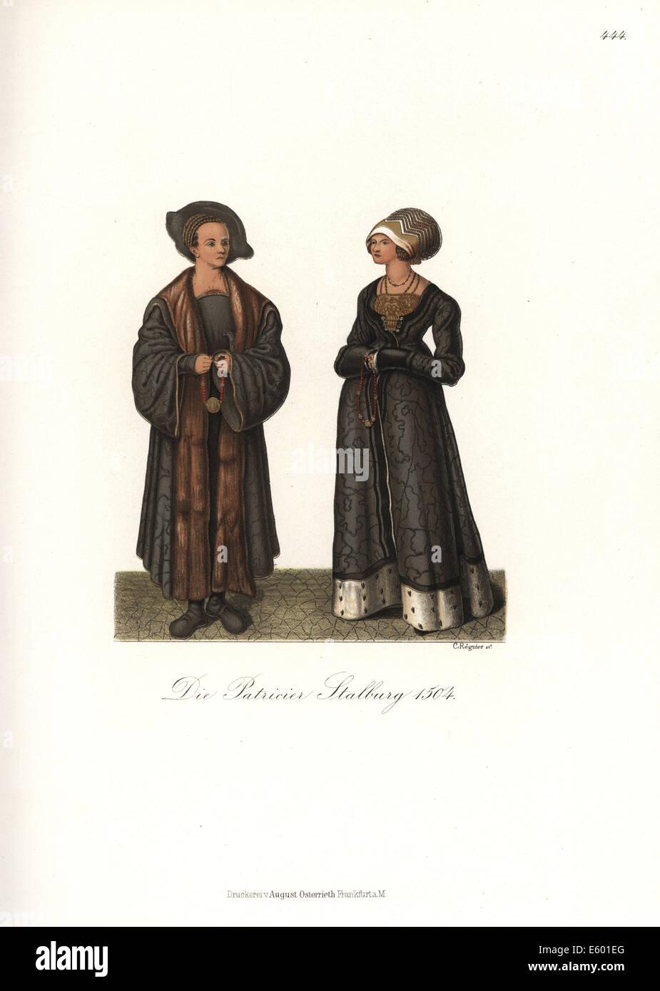 Costume tedesco della nobiltà, 1504. Immagini Stock