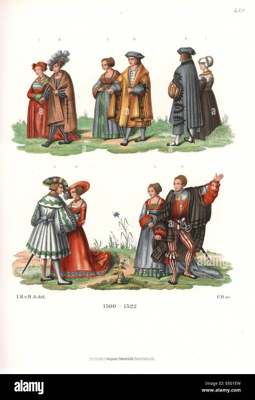 Moda di lusso della nobiltà di Augsburg all'inizio del XVI secolo. Immagini Stock