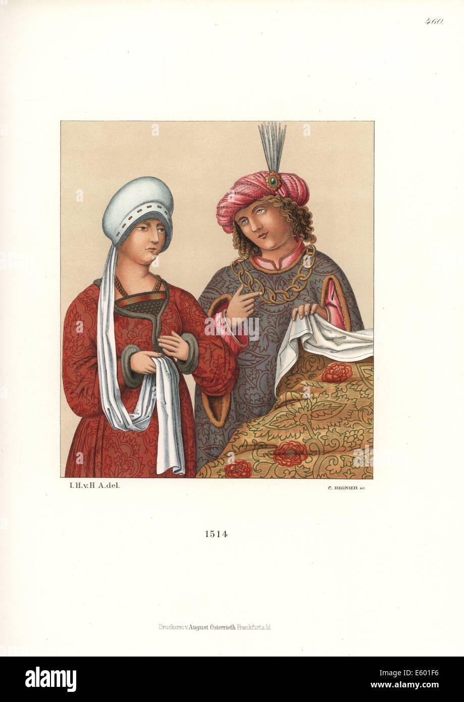 La moda della nobiltà tedesca dei primi del XVI secolo. Immagini Stock