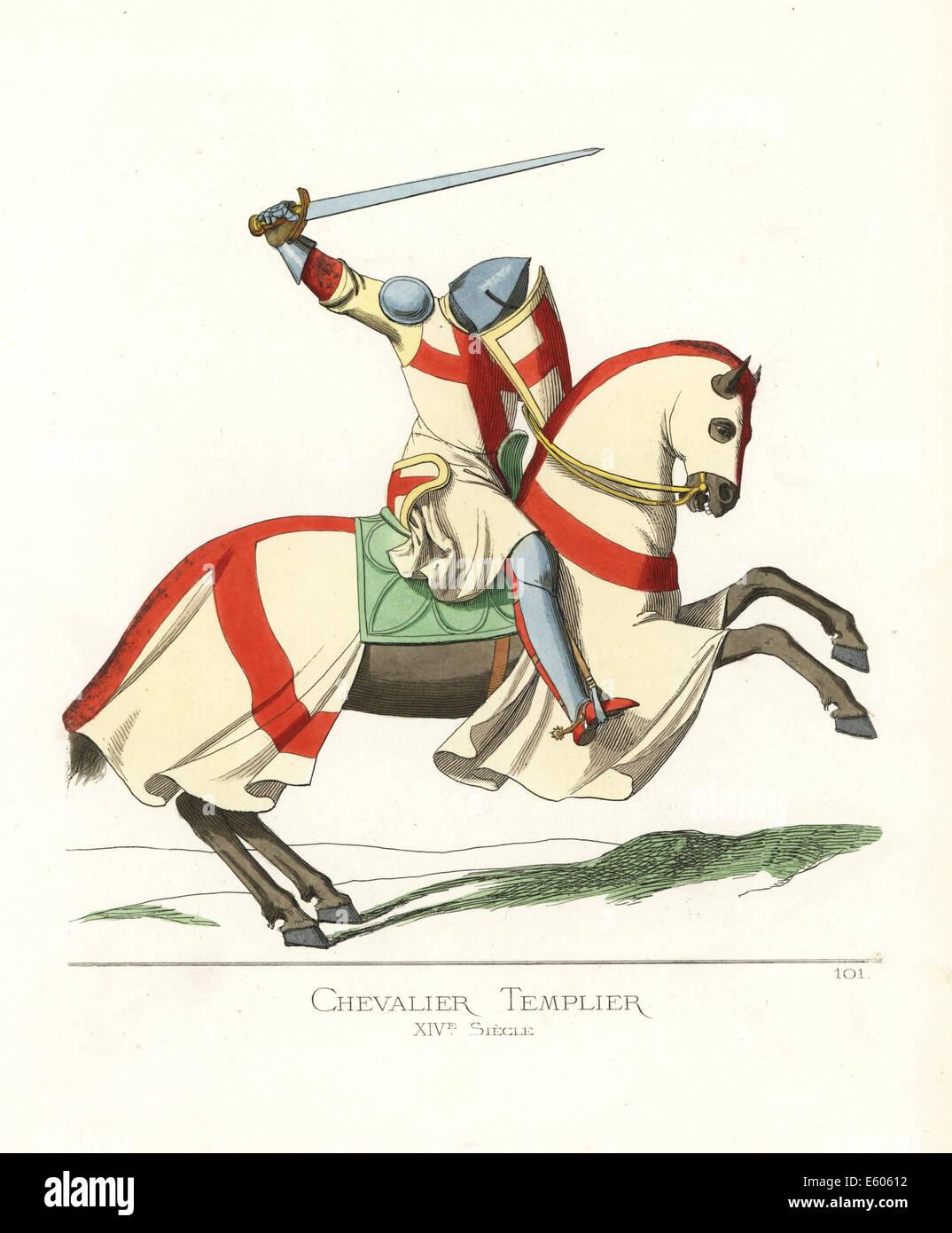Un cavaliere templare a cavallo del XIV secolo. Immagini Stock