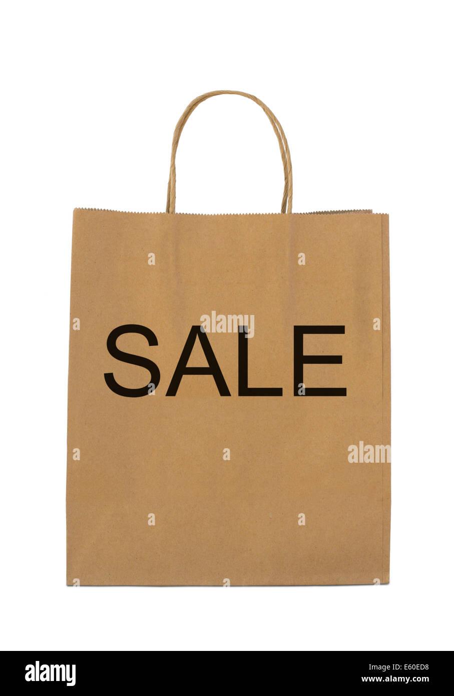 'Sale' su marrone shopping bag Immagini Stock