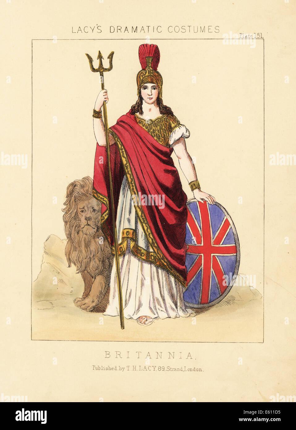 Britannia, figura emblematica del XIX secolo. Immagini Stock