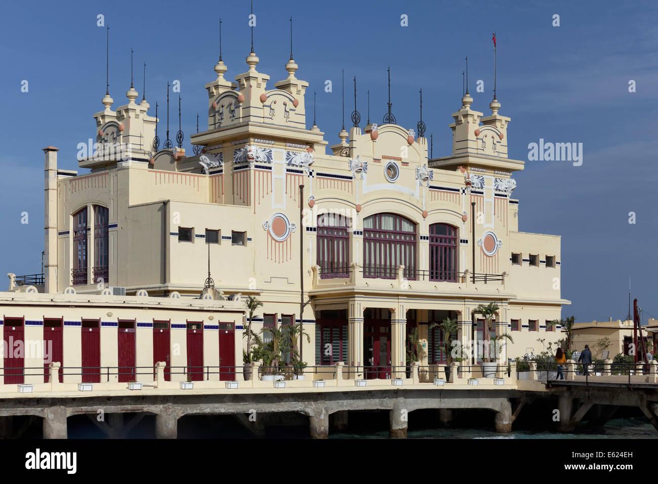 Antico Stabilimento Balneare Spa Hotel, 1912, in stile Liberty, Mondello, Palermo, Sicilia, Italia Immagini Stock
