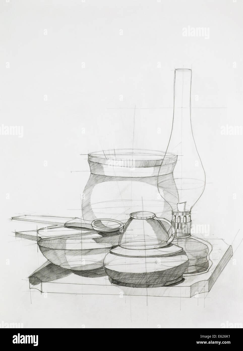 Disegnata a mano studio artistico di composizione con gli oggetti Immagini Stock