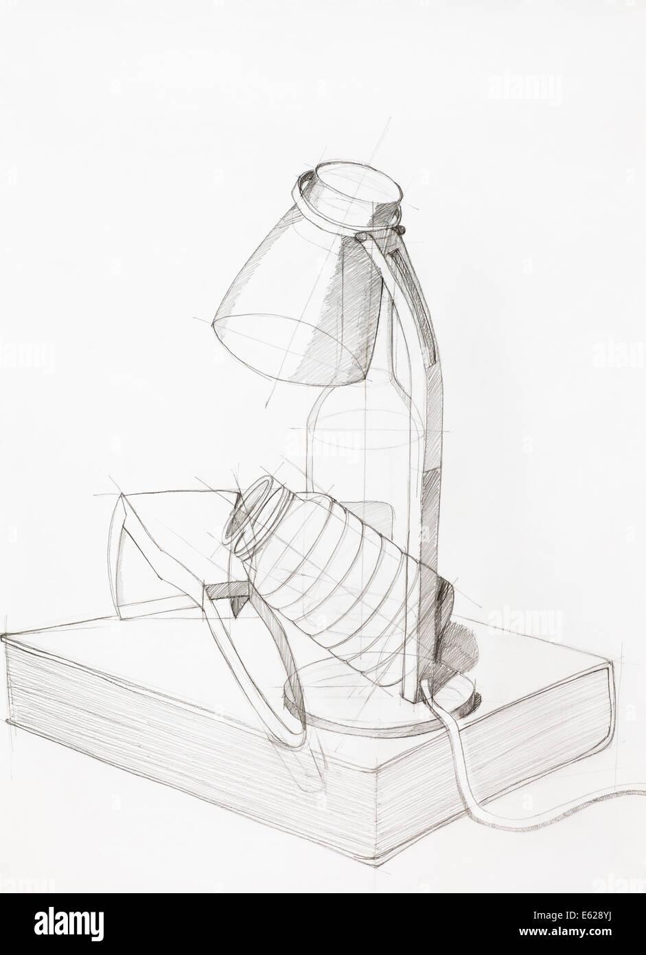 Disegnata a mano studio artistico composizione con gli oggetti Immagini Stock