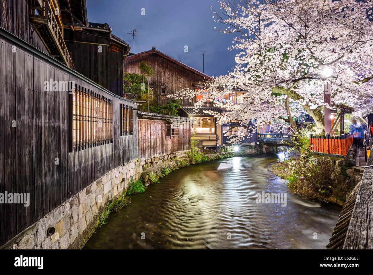 Kyoto, Giappone a Shirakawa nel quartiere Gion. Immagini Stock