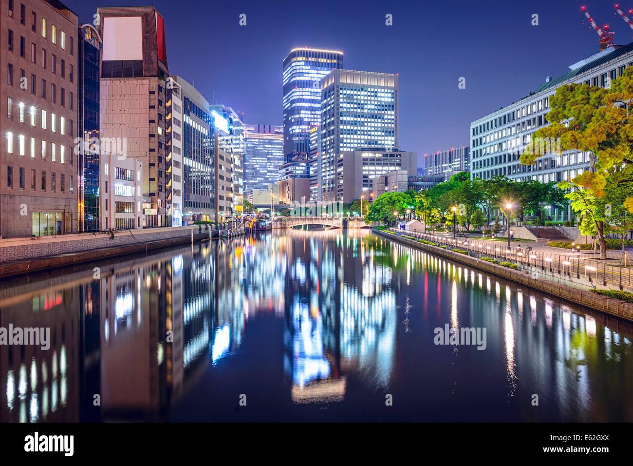 Osaka in Giappone presso il quartiere Nakanoshima. Immagini Stock