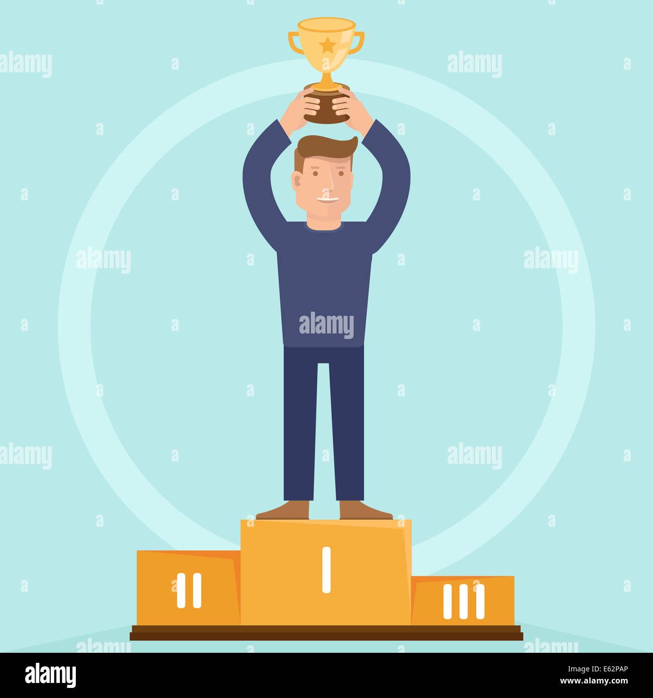 Concetto di vittoria - uomo azienda golden bowl - illustrazione in appartamento in stile retrò Immagini Stock