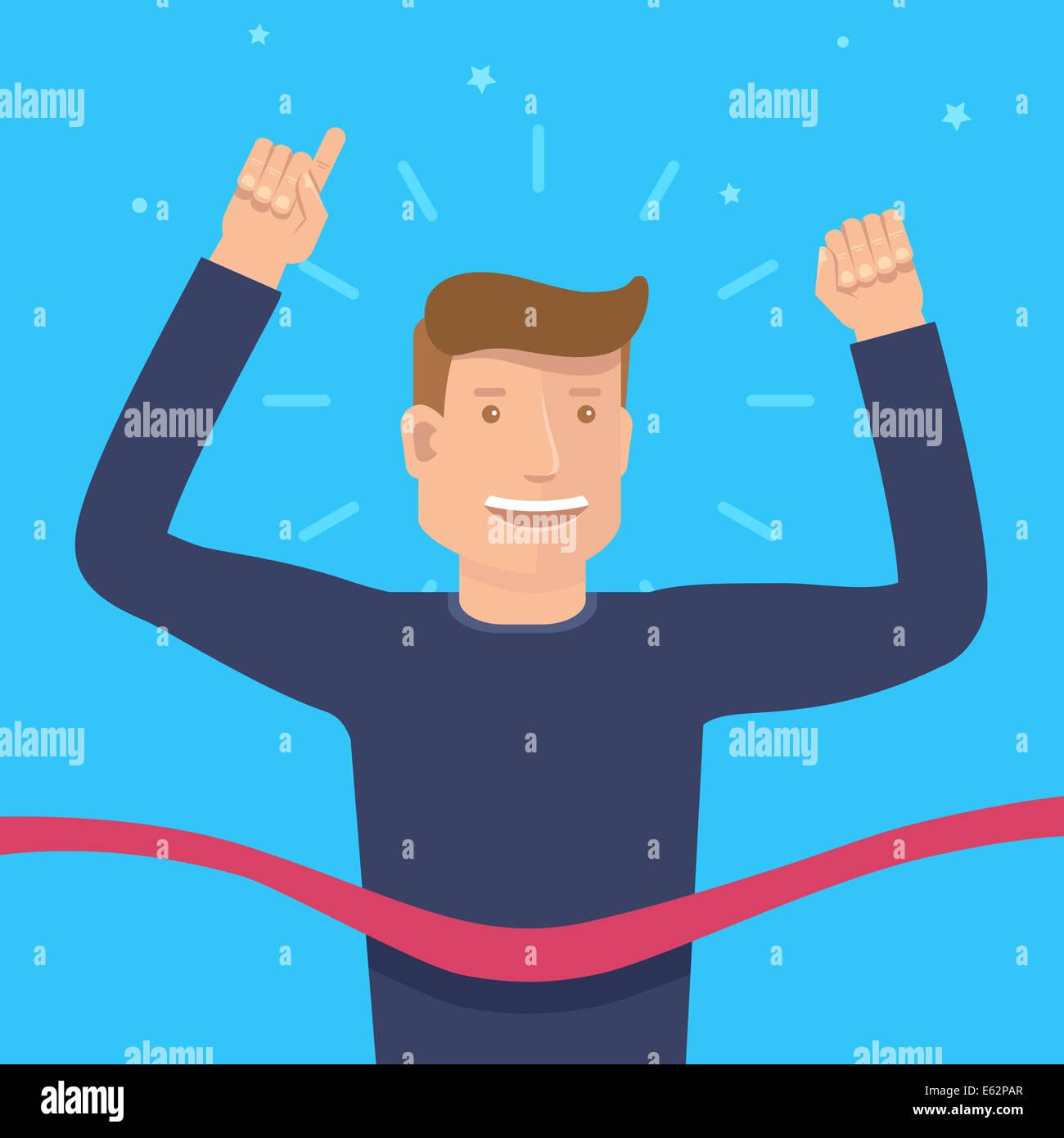 Concetto di vittoria in uno stile piatto - happy runner maschio prima di finitura con nastro rosso Immagini Stock