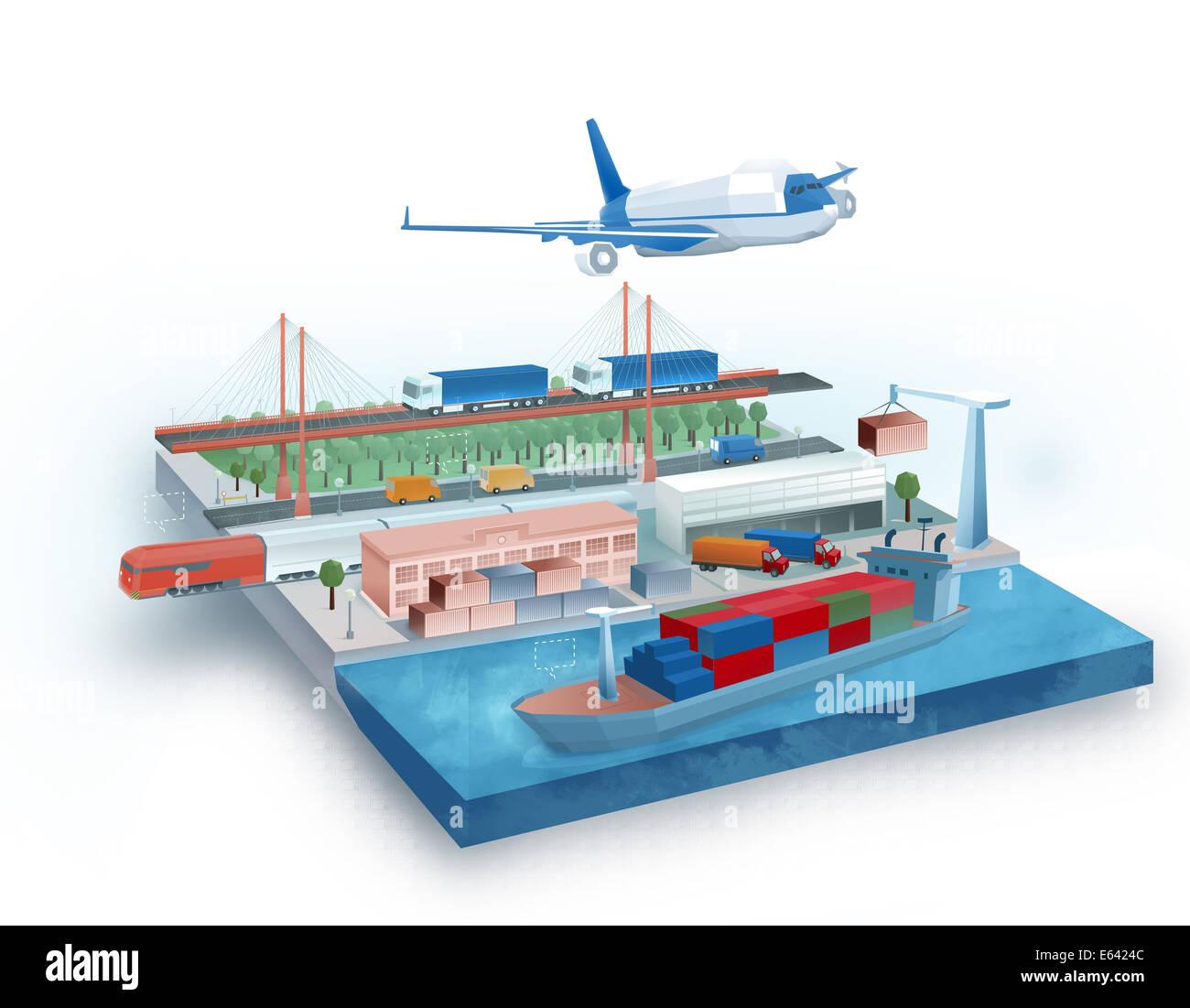 Illustrazione globale del concetto di logistica Immagini Stock