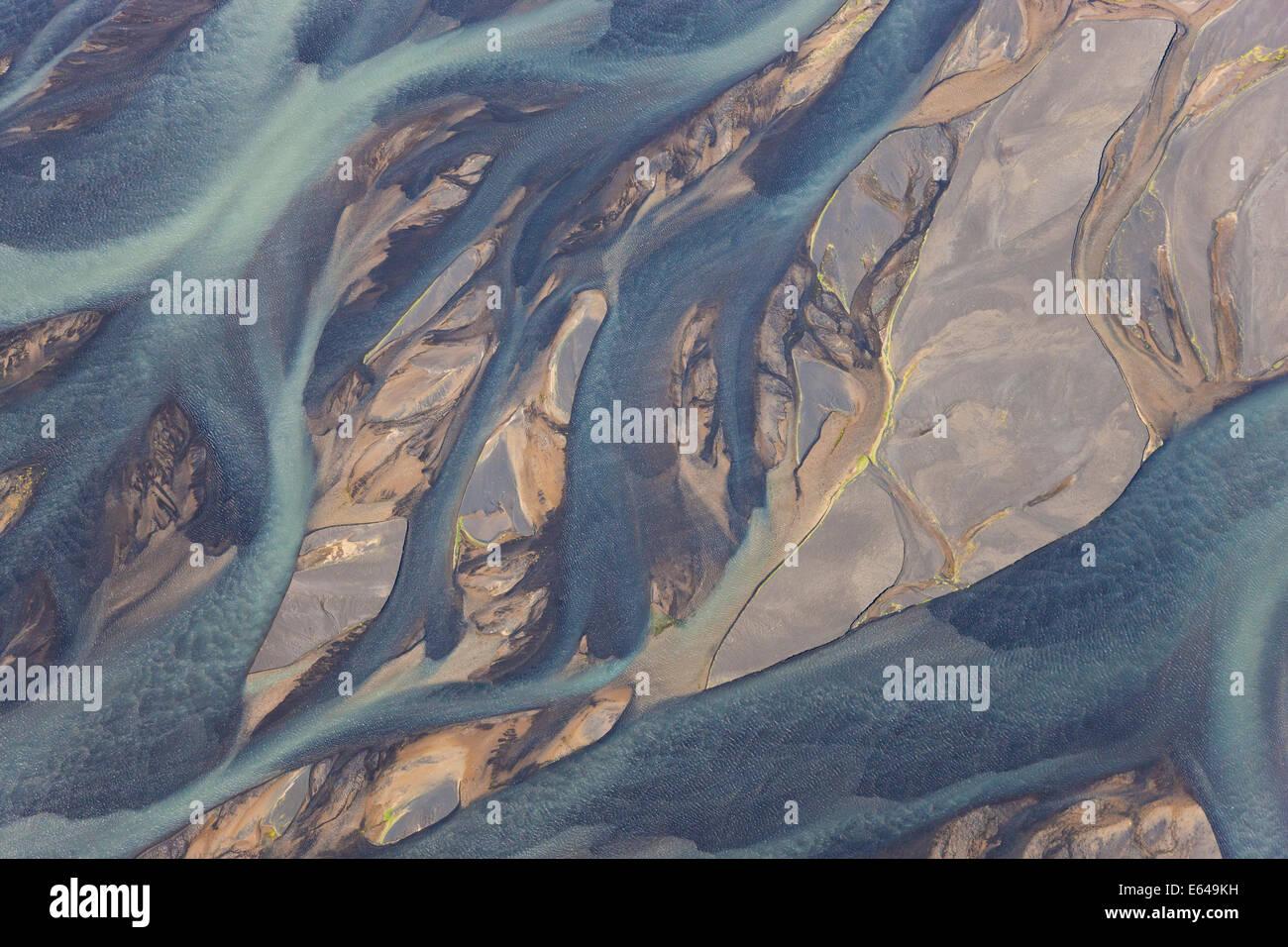 Vista aerea del fiume Hosa colorato da fusione glaciale, SW Islanda Foto Stock