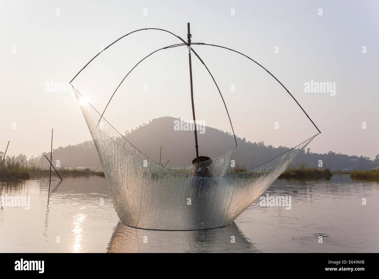 Pesca, Loktak Lago, nr Imphal, Manipur, India Immagini Stock