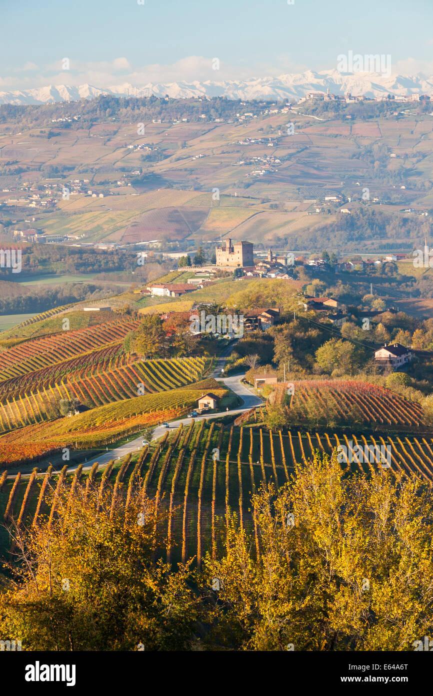 Vigneti & Castello di Grinzane Cavour; Cuneese; Langhe; nr Alba; Langhe; Piemonte (o Piemonte o Piemonte); Italia Immagini Stock