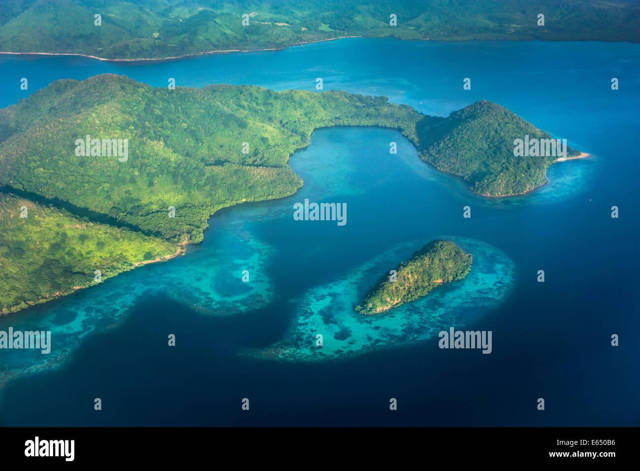 Il paesaggio costiero con le barriere coralline, Busuanga Island, Filippine Immagini Stock
