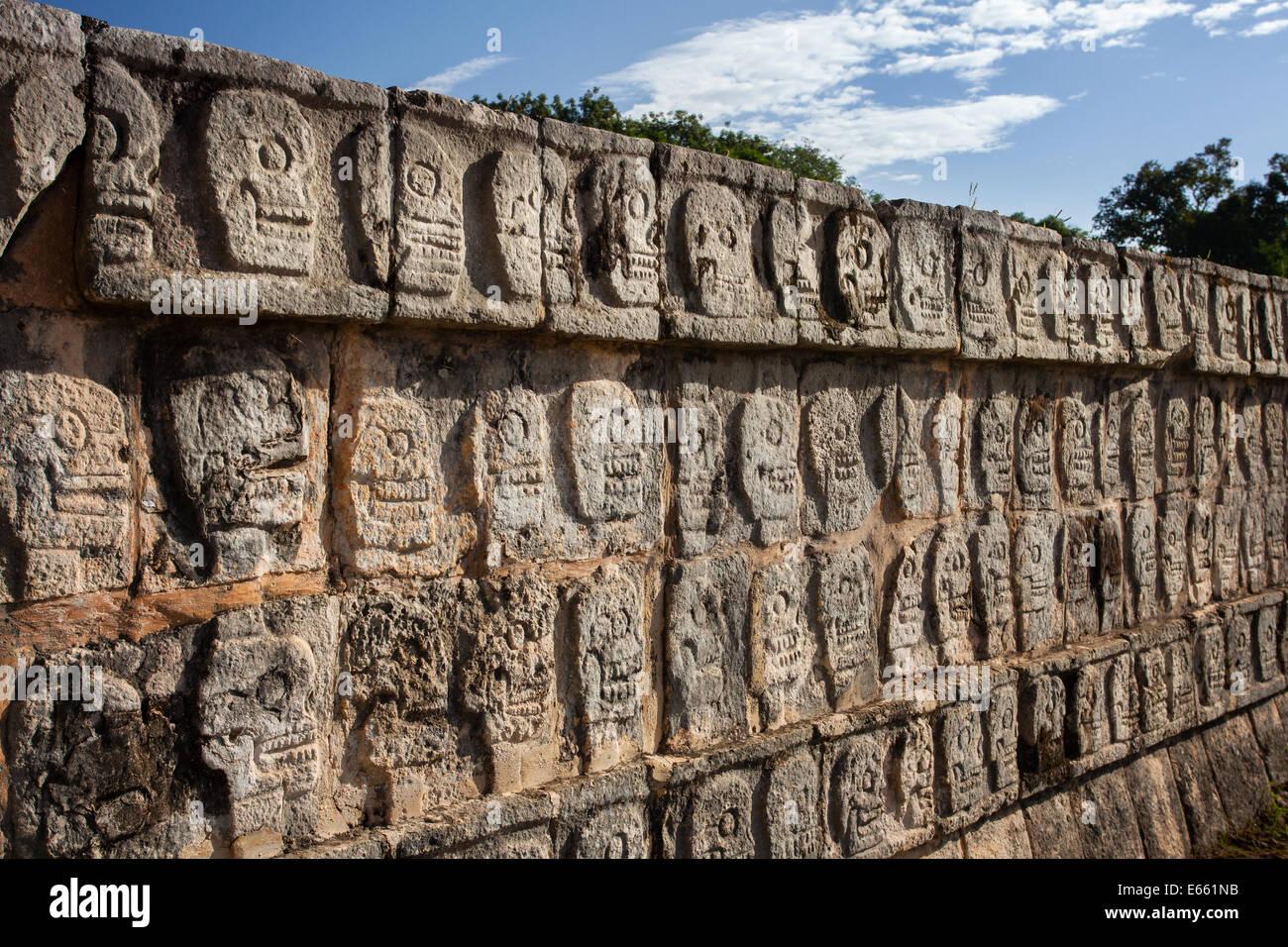 Il tzompantli, o parete di teschi, a chichen-itza, Yucatan, Messico. Immagini Stock