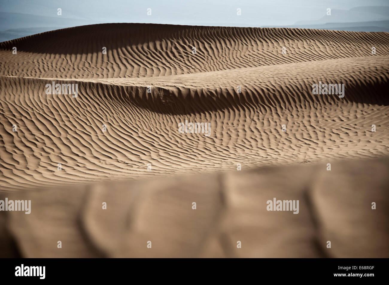 Dune di sabbia del deserto del Sahara; Marocco Foto Stock