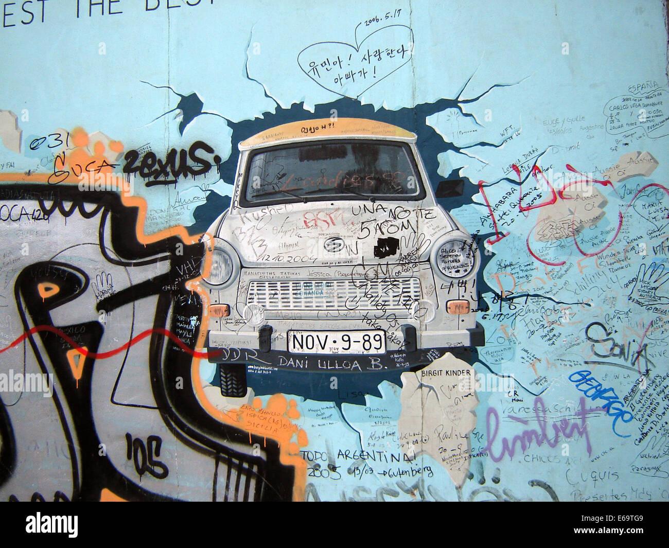 Trabant,gdr,caduta del muro di Berlino, la East side gallery Foto Stock