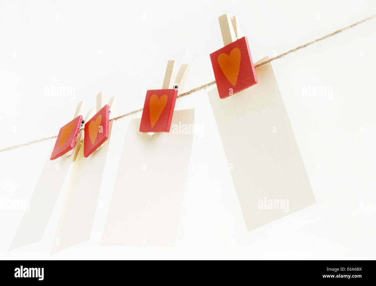 Valentine,stendibiancheria,il messaggio di amore Foto Stock