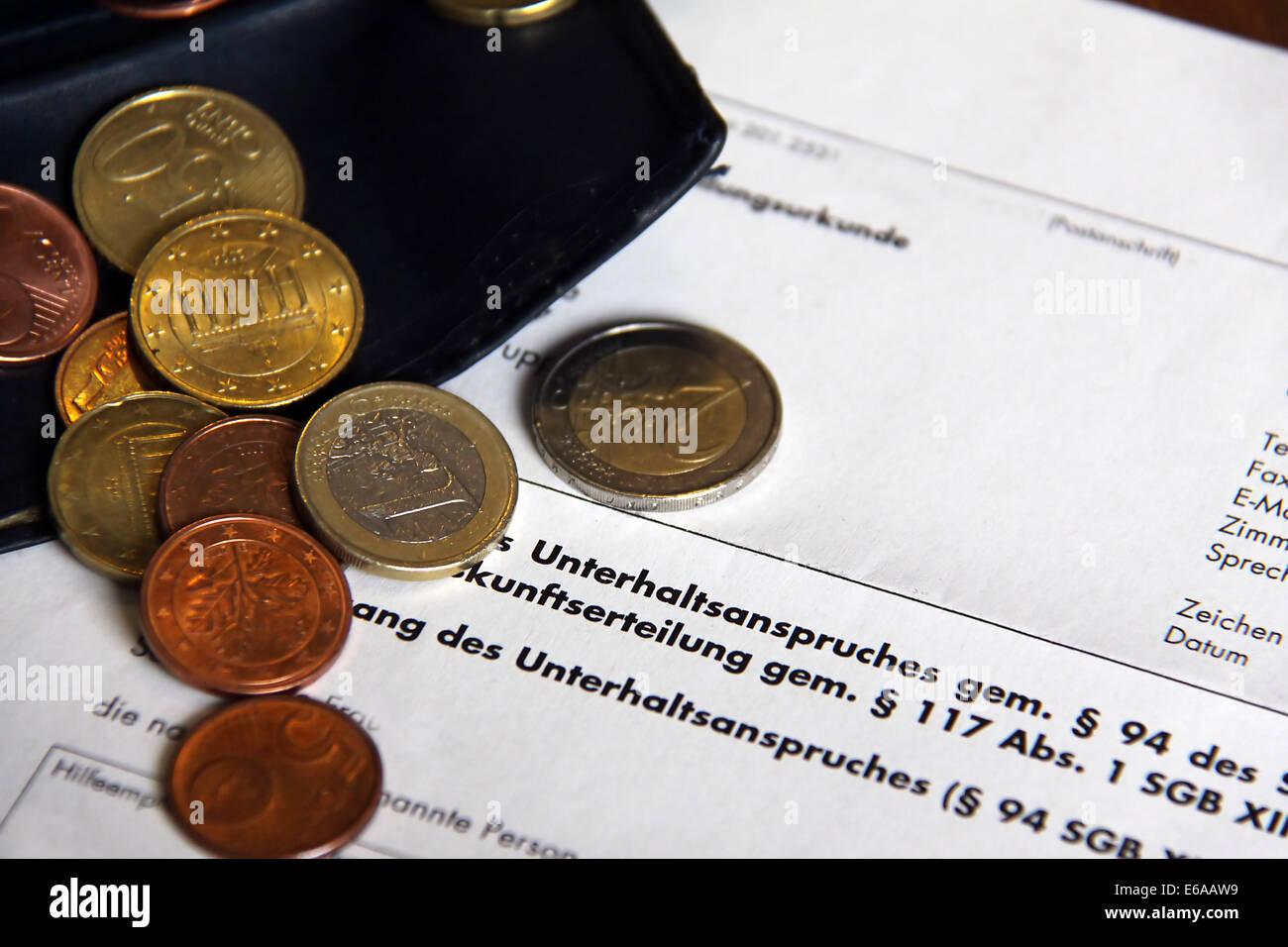Richiesta di manutenzione,pagamento,alimony Immagini Stock