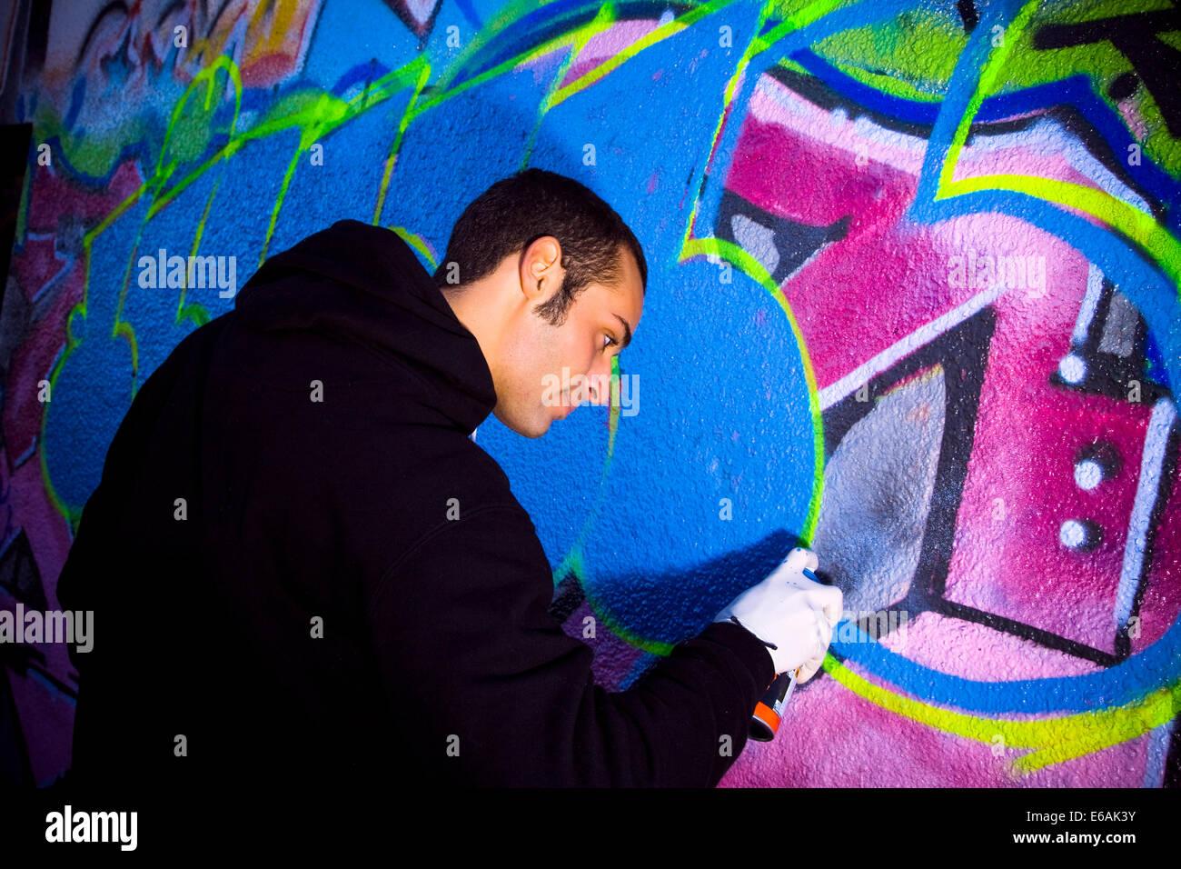 Graffiti,cultura giovanile,l'irroratrice Immagini Stock