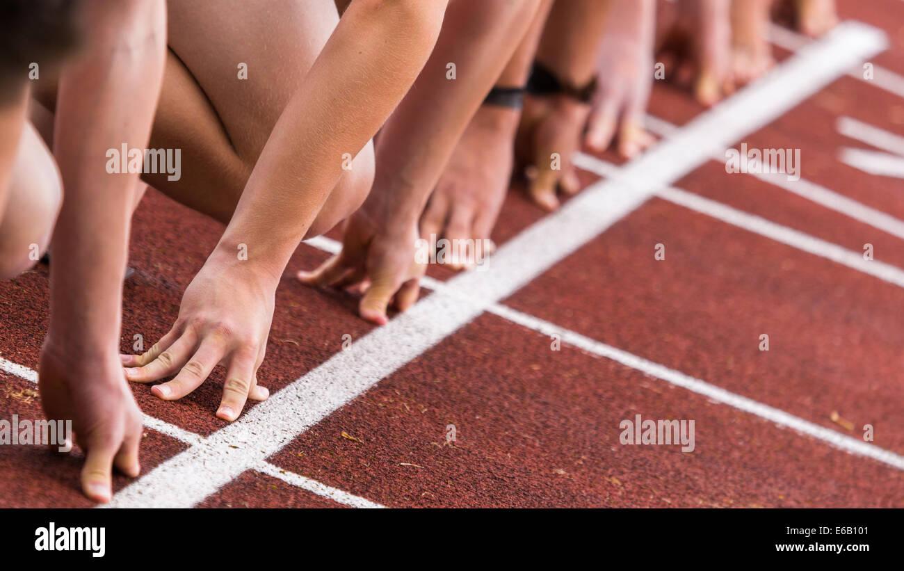 Runner,start,in volata Immagini Stock