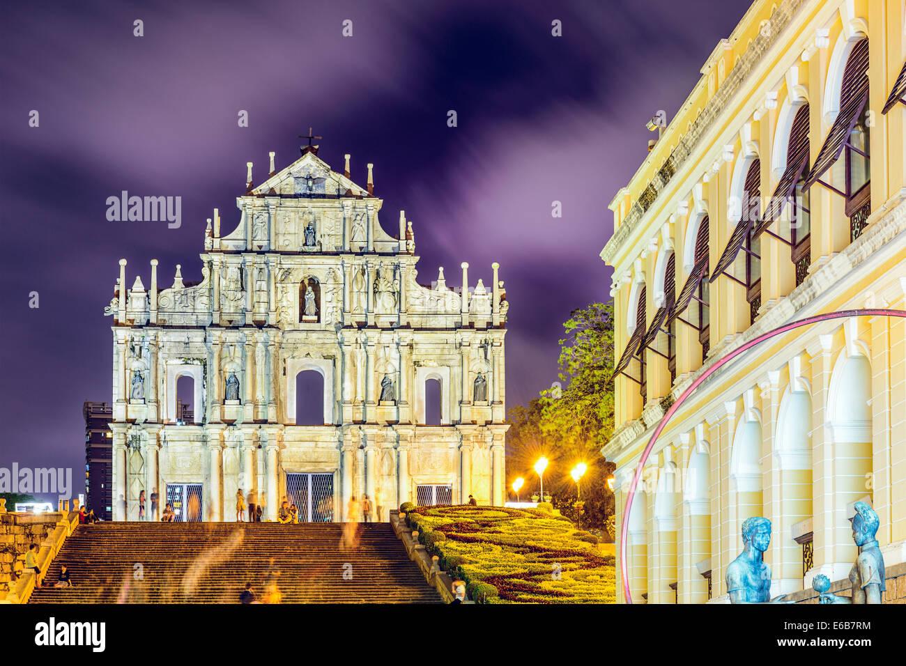 Macao alla Cina le rovine della Cattedrale di San Paolo Cattedrale. Immagini Stock